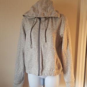 Prana zip down hoodie spring jacket gray